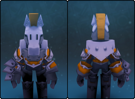Fancy Warden Helm in its set