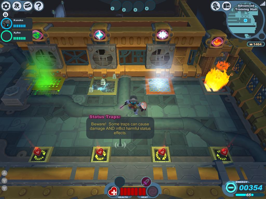 A screenshot taken of the status traps within the East Wing of the Advanced Training Hall.