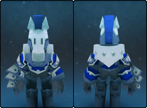 Frosty Warden Helm in its set