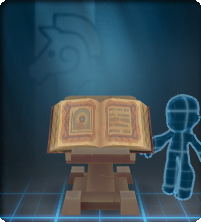 A podium displaying a magical tome filled with arcane symbols, esoteric formulae, and (a) few particularly rude doodles.