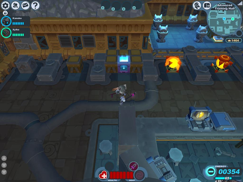 A screenshot taken of the various blocks and explosive blocks in the North Wing of the Advanced Training Hall.